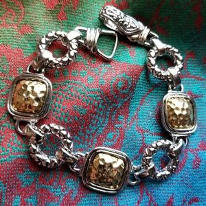 Gold and silver tone bracelet hammered texture